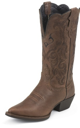 Justin Boots - Western - Dark Brown Mustang Cowhide - #L2559
