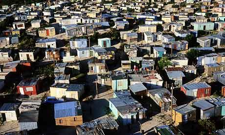 Khayelitsha Township in Cape Town is one of South Africa's largest and fastest growing informal settlements. While unemployment stands at 24.5% nationally, in townships this rises 57%. Photograph: Per-Anders Pettersson/Getty Images