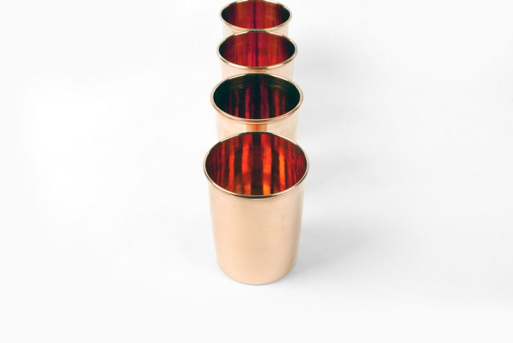 These beautiful copper cups are functional, stackable,and versatile. Copper has qualities that make for an excellent drinking cup: the material is naturally insulated and antimicrobial. Great for use in the home our outdoors. Due to the natural material, this cup will develop a beautiful patina ove