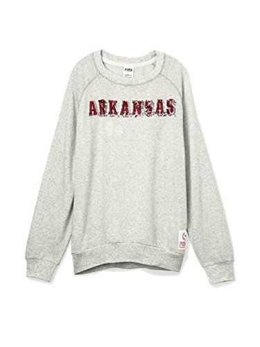Victorias Secret PINK Arkansas Bling Gym Crew Sweatshirt XSmall Gray *** Details can be found by clicking on the image.