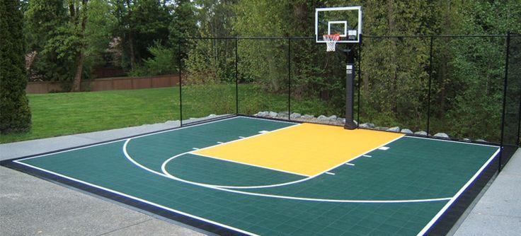 Best 25 backyard basketball court ideas on pinterest for Home basketball court size