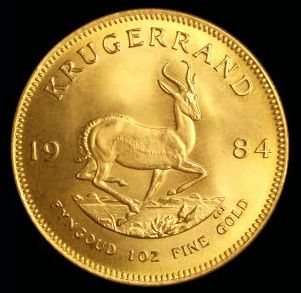One Ounce Gold South African Krugerrand (Reverse). The reverse depicts a springbok, one of the national symbols of South Africa.