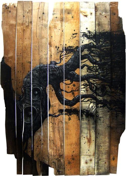 Wood on wood.