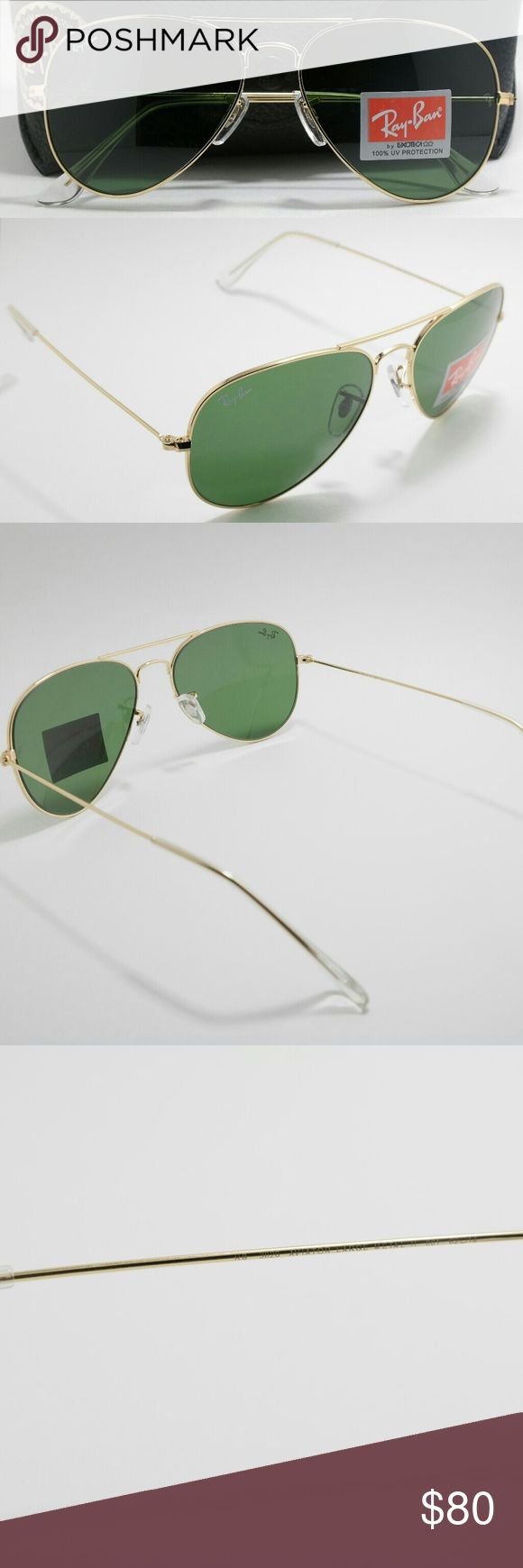 NWT classic gold RB3025 Ray Ban Aviator 62m Brand new Aviator RB3025 Ray Ban sunglasses. With classic gold frame and 62mm G-15 lenses. These sunglasses are unisex and look good on both women and men. Comes with cleaning cloth, case, and box. Asking $80 pr http://www.allthingsvogue.com
