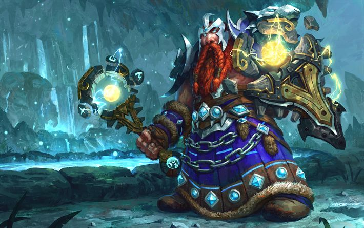Download wallpapers Dwarf Shaman, warrior, art, World of Warcraft, WoW