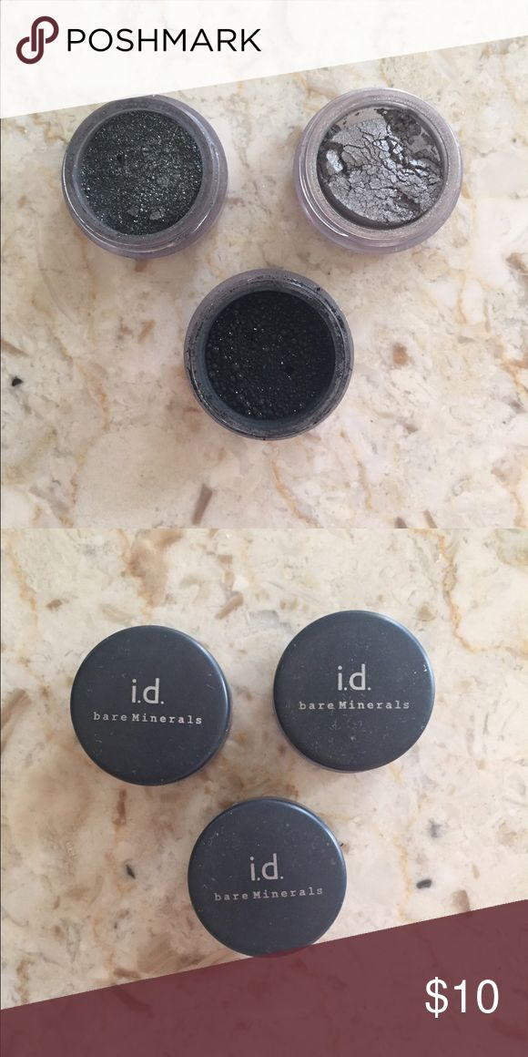 """SALE Bare Minerals Smokey Eye Loose Eyeshadow Set Bare Minerals smokey loose eyeshadow set. Opened but never been used. Eyeshadow colors: """"black leather"""" """"1980s"""" """"rock star"""". Great condition. 15% off 3 closet item bundle! bare minerals  Makeup Eyeshadow"""