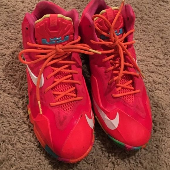 Lebron 11's 'Fruity Pebbles' RARE SOLD OUT SZ 5 Y SOLD OUT EVERYWHERE, there youth sz 5Y a women's SZ 6.5  great condition worn 2 times, make me a trade or great offer there RARE, don't buy this listing without hearing from me I'm torn on selling Nike Shoes Sneakers