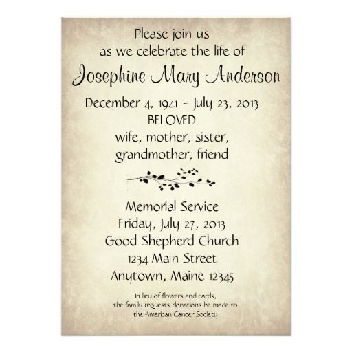 27 best Memorial Announcements images on Pinterest Card patterns - memorial service invitation wording