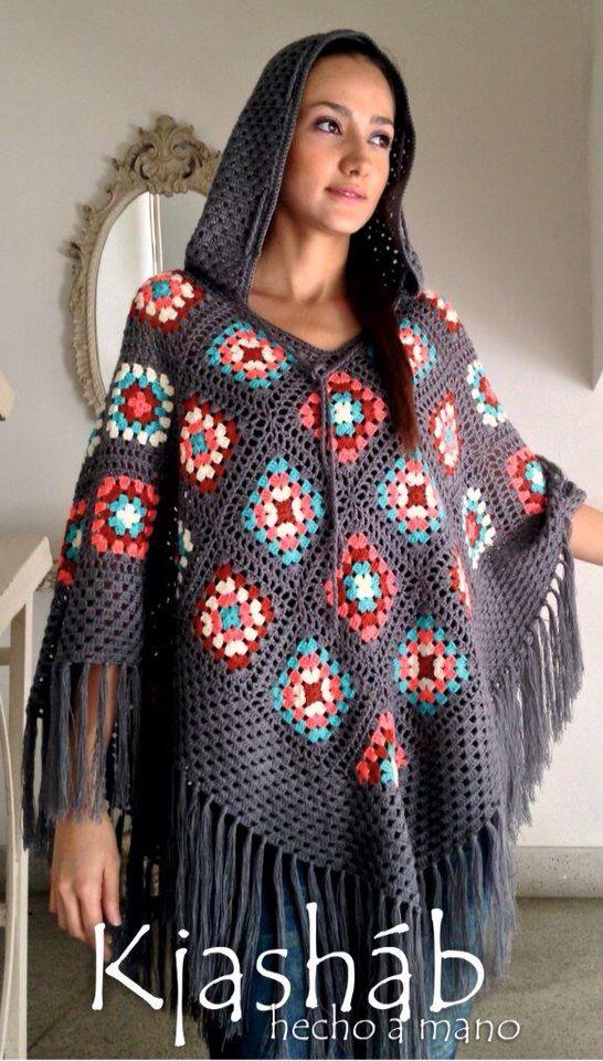 Poncho hecho a mano, tejido a crochet. By Kjashab
