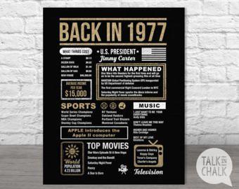 Espalda en 1977 Poster estilo diario 40 cumpleaños por TalkInChalk