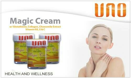 1ST HEALTH MAGIC CREAM W/ GLUTATHIONE AND COLLAGEN• Natural rejuvenating benefits from Vitamin C and Vitamin E, • Effective skin renewal agent from Lactic Acid & Vit. C, • Healthy moisturizing benefits from Vitamin E and Allantoin • Powerful treatment and protection against acne and pimples from Vit. C and Lactic Acid • Helps erase scars, skin discolorations and check uneven skin tone(from Lactic Acid & Vit. C) • Natural UV protection from Shea Butter
