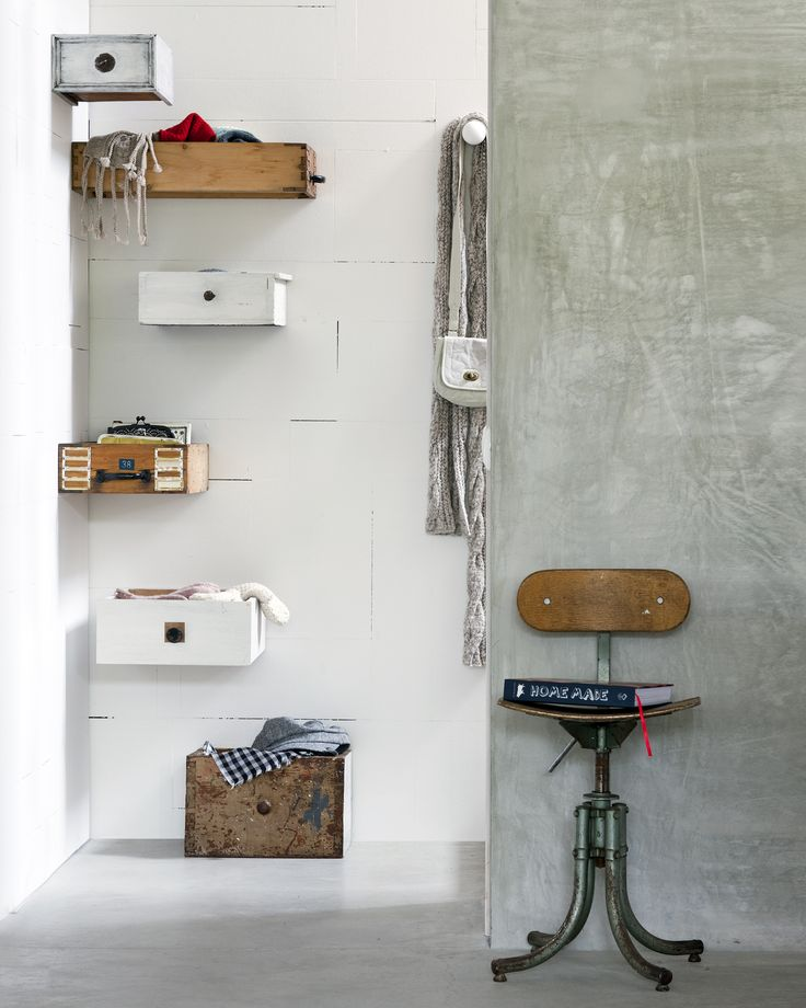 Drawers mounted on walls for storage