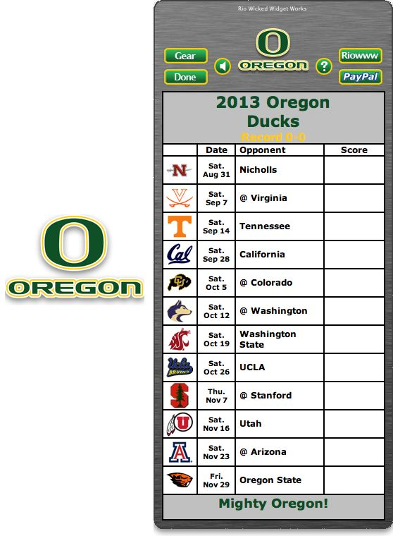 Free 2013 Oregon Ducks Football Schedule Widget - Mighty Ducks! http://riowww.com/teamPages/Oregon_Ducks.htm