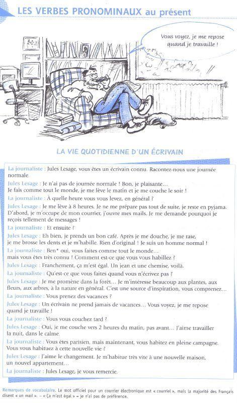 """Notre leçon de GRAMAIRE - """"Les verbes pronominaux au présent'"""" ( Leçon 11) - Le Blog pour notre Cours de Langue Française 1 - SEGUNDA LENGUA EXTRANJERA I(FRANCES)"""