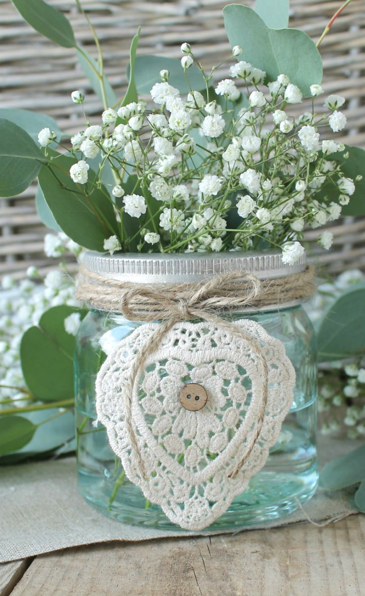 Such a pretty centrepiece for a wedding or celebration, cream crochet heart available complete or to make yourself.