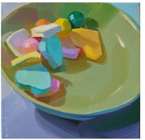 candy, bright, pastel, food, still life colorful, bold, hearts, valentines day. painting by Karen O'Neil: