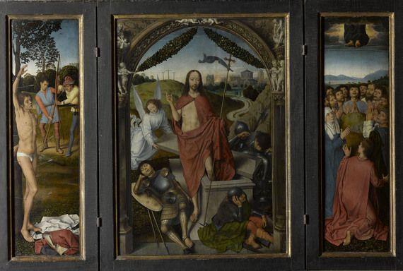 Trittico della Resurrezione, Martirio di san Sebastiano, scomparto sinistro, Ascensione, scomparto destro, Parigi, Musée du Louvre, Département des Peintures-MEMLING