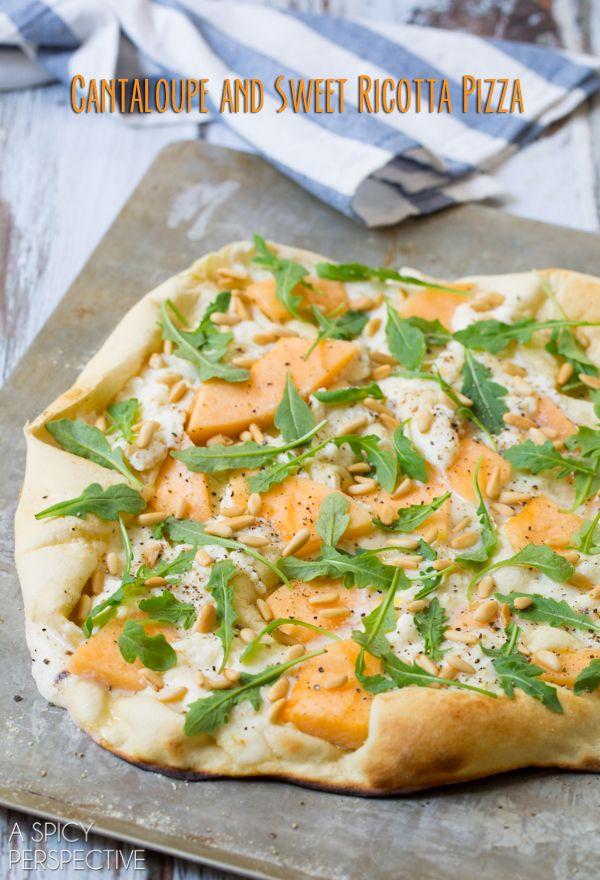 Simple Cantaloupe and Sweet Ricotta Pizza #pizza #dessertpizza