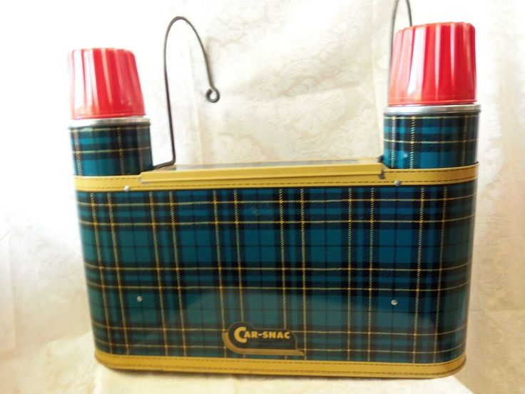 Vtg 1950's Car-Snac Car Accessory Thermos Picnic Lunch Carrier Metal BLUE Plaid …