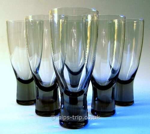 Retro Glass - Scandinavian : Holmegaard/Kastrup Glass : Holmegaard (Denmark) Set of 6 'Canada' Smoke Red Wine Glasses by Per Lutken