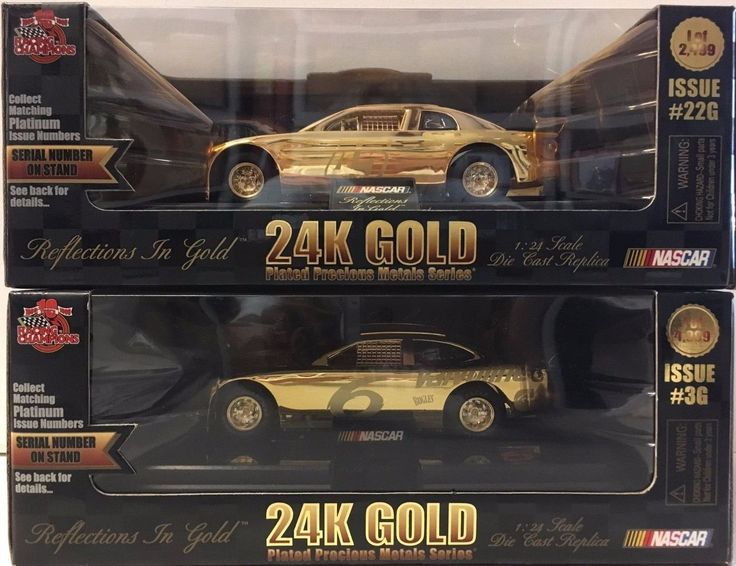 24k Gold Plated NASCAR Racing Champions 10th Anniversary Car 1:24 Set of 2 NIB