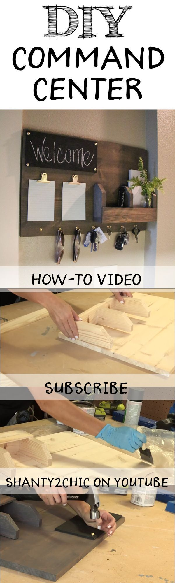 Perfect way to organize all of your junk! Build this DIY Command Center with this how-to video and free printable plans from http://www.shanty-2-chic.com