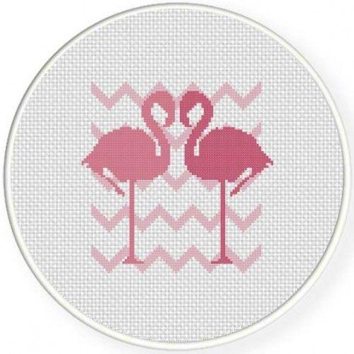 Flamingo Love Stitch Illustration