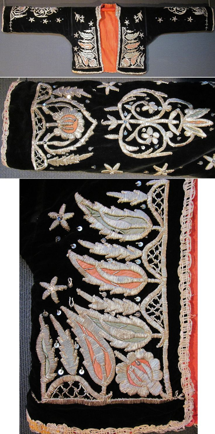 Front (and sleeve) of a traditional festive 'cepken' (long-sleeved vest) for women.  From the Keles-Dursunbey area (southern Bursa & southeastern Balıkesir provinces), ca. mid-20th century.  Black velvet, adorned with cotton patchwork, silvery metal thread embroidery (in 'sarma' / 'Maraş işi'-technique), small silvery spirals and metal sequins.  (Inv.n° cep054 - Kavak Costume Collection - Antwerpen/Belgium).