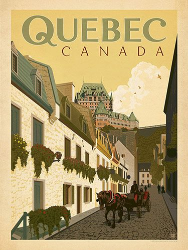 Canada: Quebec Street Scene - Our most adventurous series of classic travel poster art is called the World Travel Poster Collection. We were inspired by vintage travel prints from the Golden Age of Poster Design (a glorious period spanning the late-1800s to the mid-1900s.) So we set out to create a collection of brand new international prints with a bold and fresh feel.