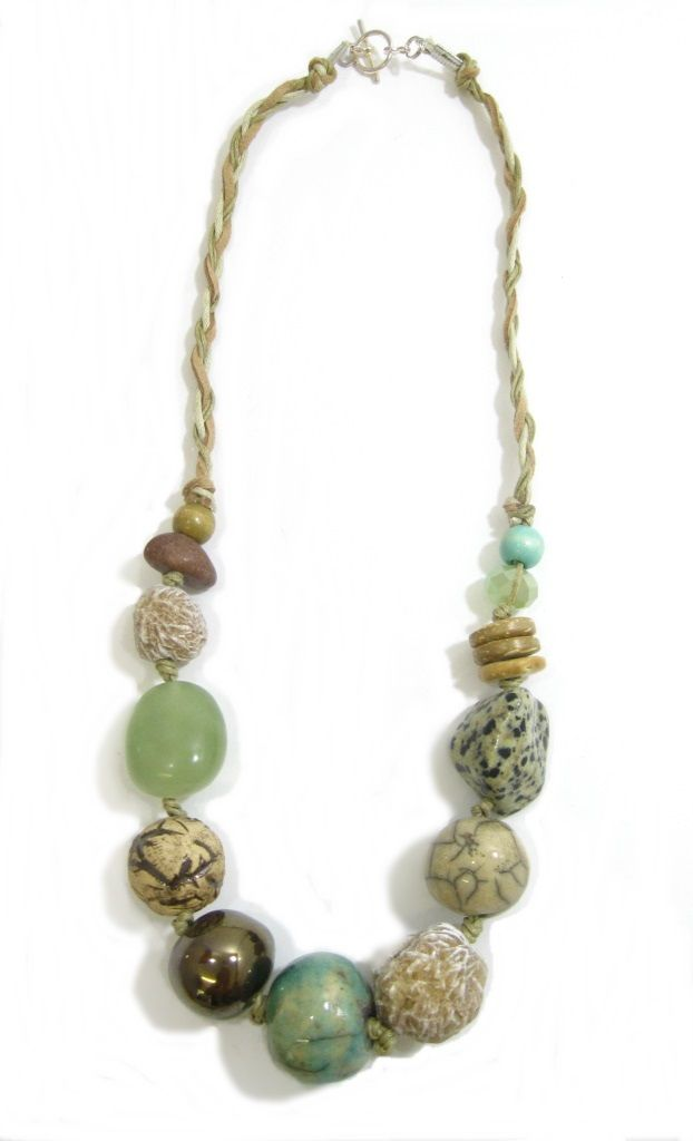 Ivory Coast Ceramic and Stone on Cord. Semi-precious and handmade ceramic beads. www.marzipan.co.za