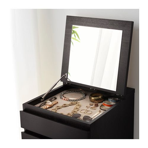 MALM 6-drawer chest - black-brown/mirror glass - IKEA