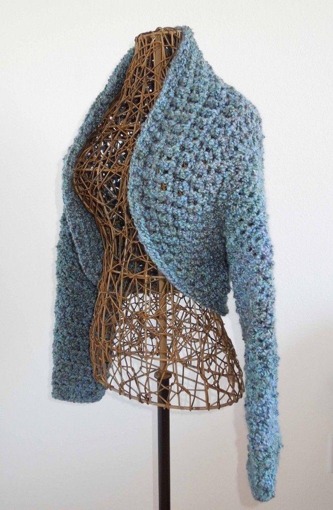 Easy To Make No-Seam Crochet Shrug: free #crochet #shrug pattern