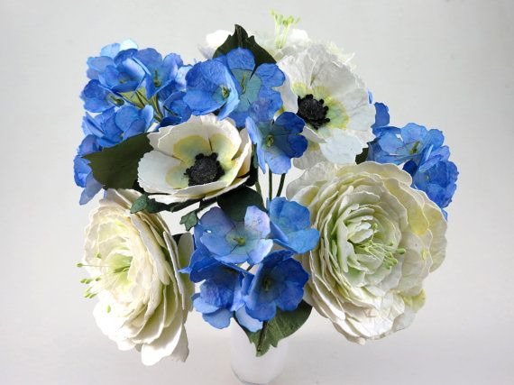 White and Blue Paper Flower Bouquet