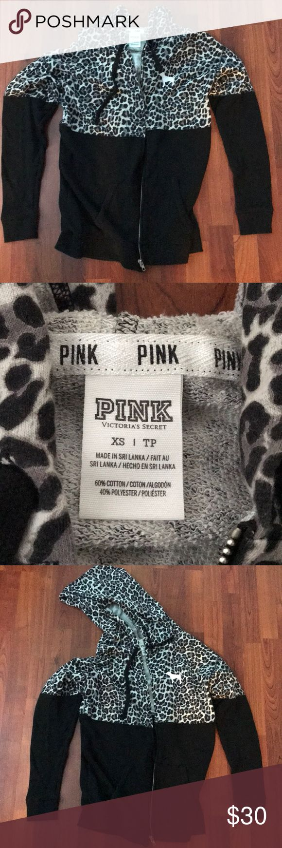 Oversized vs pink zip up In perfect condition! Lightweight oversized PINK zip up. Super cute, just don't wear it. Big drawstring hood. Plain/animal print with dog graphic, back is same as front. No back graphic PINK Tops Sweatshirts & Hoodies