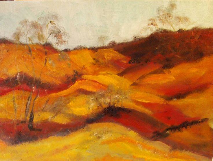 """""""The Pink Cliffs at Heathcote VIC (framed)"""" by Margaret Morgan (Watkins). Paintings for Sale. Bluethumb - Online Art Gallery"""