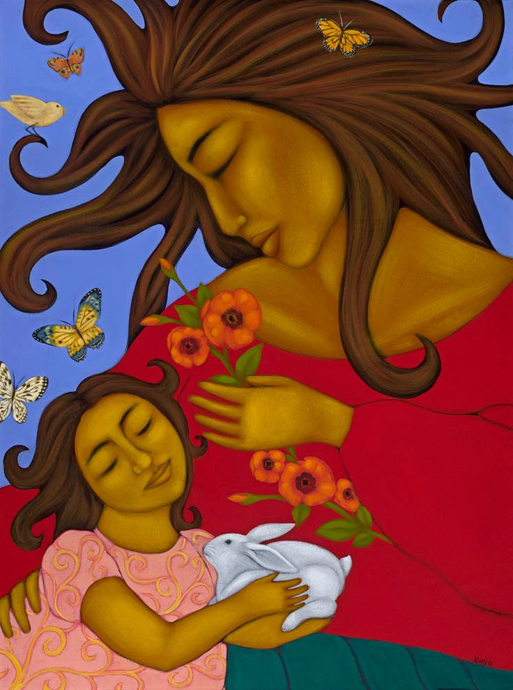 Mother and Child Ethnic Wall Decor Print of Folk Art Original Mexican Painting By Tamara Adams. $16.00, via Etsy.