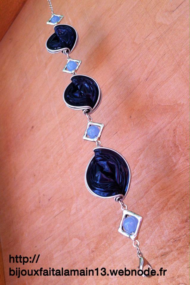 Bracelet avec capsules Nespresso et jade bleu clair