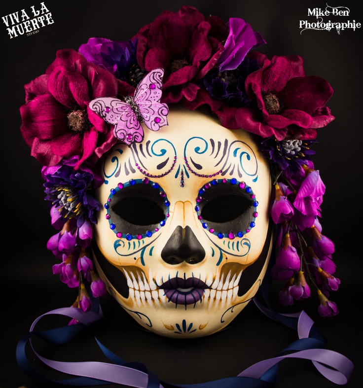 NO LLORE  Dio de los Muertos/ Day of the dead hand painted skull mask, classy collection. $91.00, via Etsy.