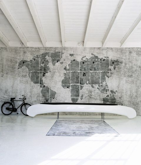 Garage wall world map. So awesome.