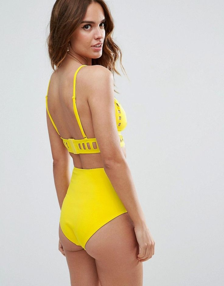 ASOS Neoprene Laser Cut Out High Waist Bikini Bottom - Yellow