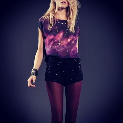 galaxy top & velvet look shorts #fashion #galaxy