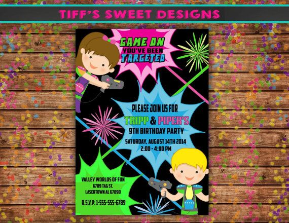 Lazer Tag Childrens Party Invitation  by TiffsSweetDesigns on Etsy, $10.50