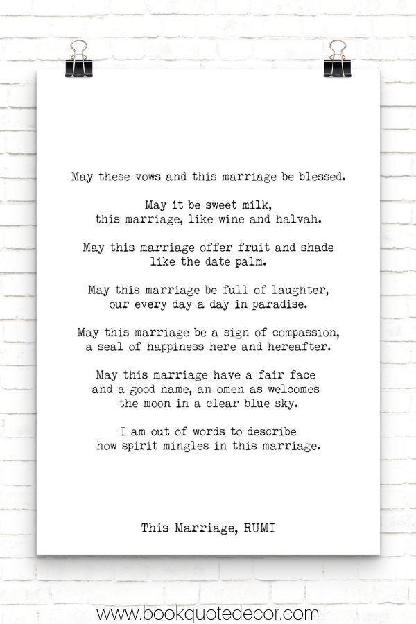Rumi Marriage Poem Gift Wedding Print Love Poem Engagement Etsy Marriage Poems Minimalist Book Wedding Prints