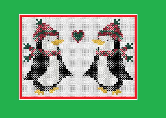 This listing is for a full-colour PDF pattern, which is available for immediate download. The pattern is provided as a full-colour chart with different colours and symbols used for the different threads. This original penguin design is perfect for Christmas cards, napkins, decorations,