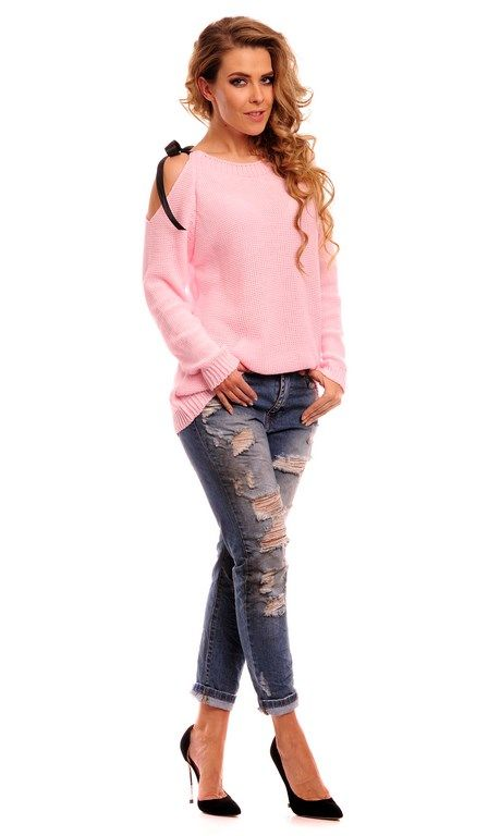 Sweterek damski z kontrastową kokardką