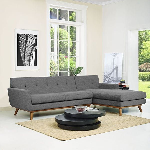 Modway Furniture Engage EEI-1795-4 Gray Sectional Sofa with Chaise