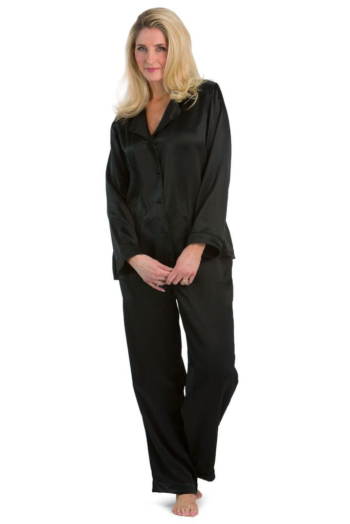 3aeded9a2 Women s 100% Mulberry Silk Classic Full Length Pajama Set with Gift ...