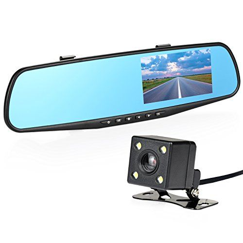 """Nexgadget Car Dash Cam 4.3"""" LCD FHD 1080p Dual Lens Car Camera Front and Rear DVR Video Recorder Vehicles Camera with Car Charger One USB Port"""