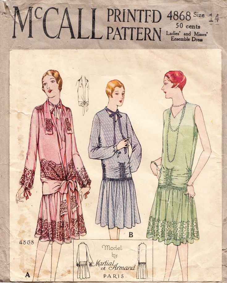 "McCall 4868; ©1927; Ladies' and Misses' Ensemble Dress - Model by Martial et Armand Add a photo to the gallery by clicking the ""modify"" button below."