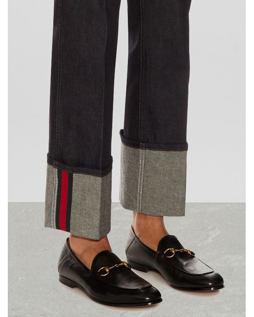 Gucci | Black Brixton Leather Moccasins for Men | Lyst
